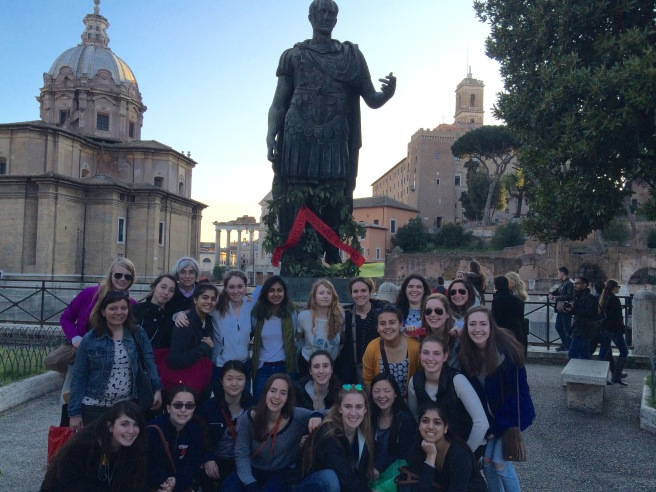 In front of his statue, we re-enacted the assassination of Julius Caesar on the Ides of March (video to follow)